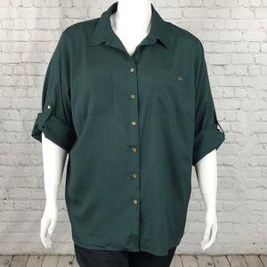Calvin Klein Hunter Green Button Down Top Size 2X